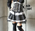 PUNK RAVE - Visual K CYBER GOTHIC STEAMPUNK DRESS WAIST LACE FRILLY DRESS RED AND BLACK ONLY