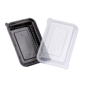 Wavebox Rectangular Container 720ml Black With Clear Lid - 150 Per Box