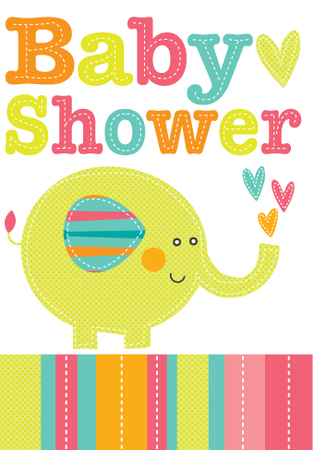 Baby Shower Elephant Extras Perth Greeting Cards