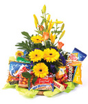 Gift Baskets Flowers and Nibbles Basket