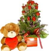 Devotion bear and 10 roses