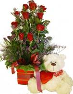 misty love teddy and 10 roses