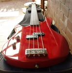 Left Handed Ashton AB2 Bass Guitar and Gig Bag.