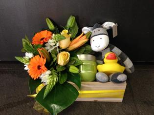 Bright flowers and baby gifts - citrus colours