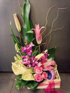 Tall Seasonal Arrangement in Wooden box with a Soy Candle